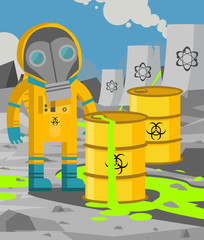 man on yellow biohazard suit in radioactive nuclear zone meltdown