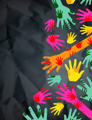 Hands in  indifferent colors showing different problems of a women
