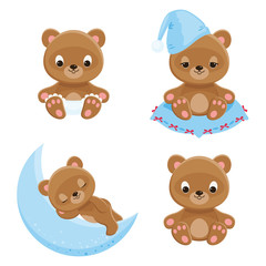 Baby bears different characters. Four isolated vector icons