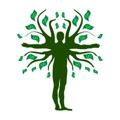 Human Money Tree Prosperity Symbol Logo.  Money Tree Icon Symbol Design. Vector illustration isolated on white background.