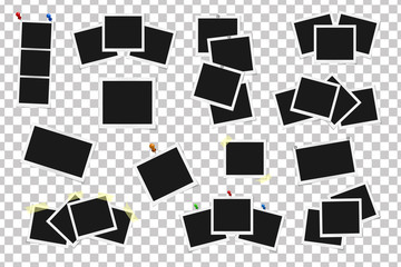 Set of square vector frames on sticky tape, pins and rivets isolated isolated. Template photo design. Vector illustration