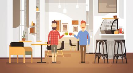 Two Man Drink Coffee Modern Cafe Interior Restaurant Flat Vector Illustration