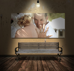 Bench with Married Couple Display Behind