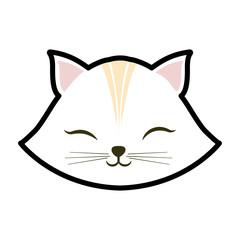 white cat kitty closed eyes animal cute vector illustration eps 10