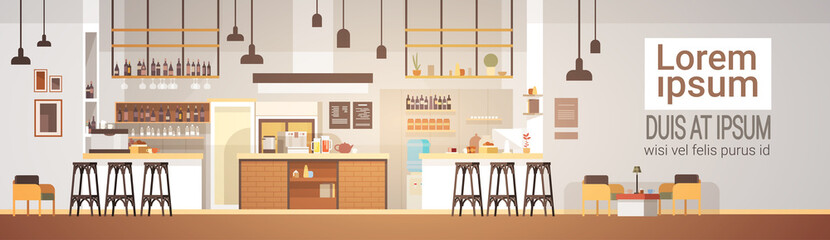 Modern Cafe Interior Empty No People Restaurant Flat Vector Illustration