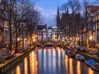 Amsterdam canal Leidsegracht and bridge in the evening