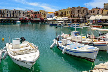 Fishing boats moored in Rethymno port. Crete island, Greece, Europe