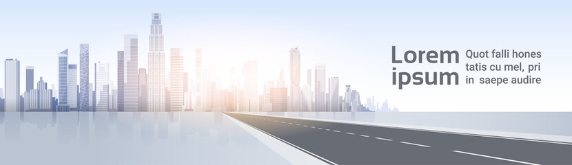 Road To City Skyscraper View Cityscape Background Skyline Silhouette with Copy Space Vector Illustration Fotomurales