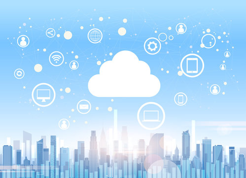 Cloud Computing Technology Device Internet Data Information Storage City Skyscraper View Cityscape Background Vector Illustration