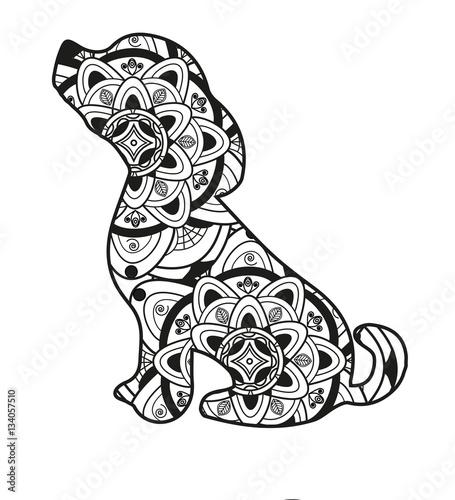 Vector illustration of a dog mandala for coloring book for Mandala da colorare con animali