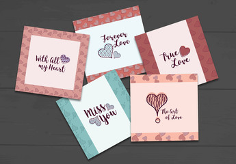 Illustrated Valentine's Day Card Layout Set