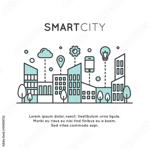 Vector Icon Style Illustration Of Smart City Concept And Technology One Page Web Or Mobile