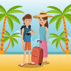 travelers vacation suitcase palm sand beach vector illustration eps 10