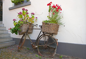 Reused bycycle with baskets of flowers