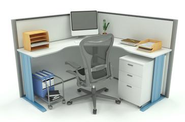 Box ufficio isolato su bianco