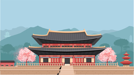 Korean Temple with mountains