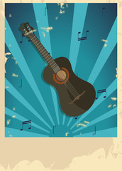 Guitar poster in retro style