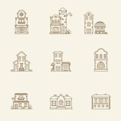 Real estate city buildings icons