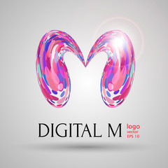 vector digital modern bubble style M letter on grey background