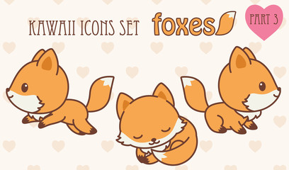 Kawaii foxes icons set. Part 3