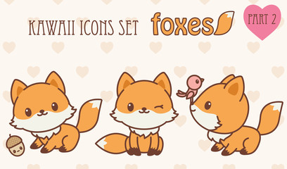 Kawaii foxes icons set. Part 2