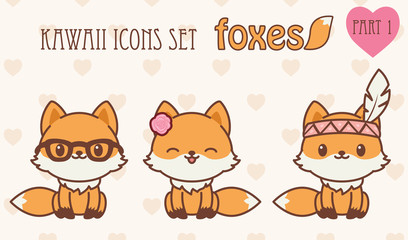 Kawaii foxes icons set. Part 1