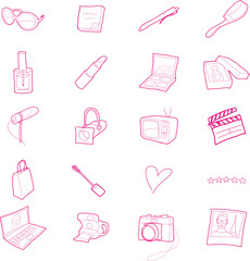 Twenty hand drawn lifestyle, beauty and media icons