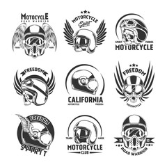Motorcycle Helmet Design Elements Set