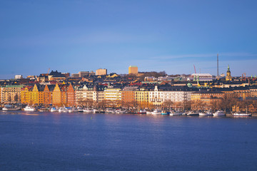 Stockholm with colorful buildings in sunlight