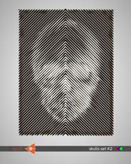 Halftone skull, line, Wave. Design element. Invitation, party. Billboard, flyer. Musical poster.