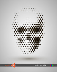 Halftone skull, line, hexagon, honeycomb, honey, bubbles. Design element. Invitation, party. Billboard, flyer. Musical poster.