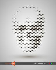 Halftone skull, line, stars, bubbles. Design element. Invitation, party. Billboard, flyer. Musical poster.