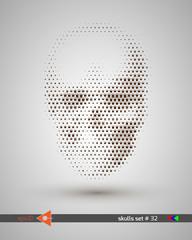 Halftone skull, line, crown, bubbles. Design element. Invitation, party. Billboard, flyer. Musical poster.