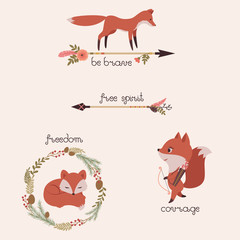 Foxes, arrows, wreath
