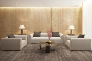 Beige sofa in a contemporary living room with velvet rug