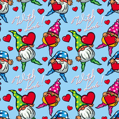 """Seamless pattern with hearts, gnomes and sign """"With love!"""". Vector clip art."""