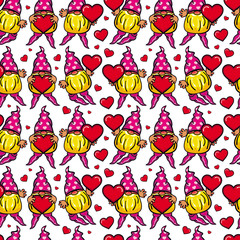 Seamless pattern with cute gnome holding heart. Vector clip art.
