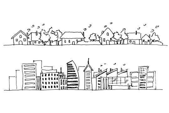 Hand drawing of city, rural and urban area.