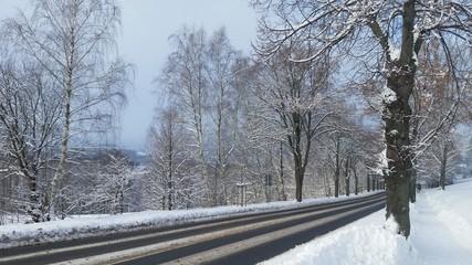 Winterliche Straßenverhältnisse in verschneiter Landschaft