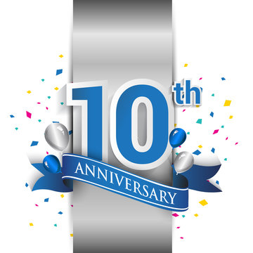 10th anniversary logo with silver label and blue ribbon, balloons, confetti. 10 Years birthday Celebration Design for party, and invitation card