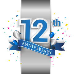 12th anniversary logo with silver label and blue ribbon, balloons, confetti. 12 Years birthday Celebration Design for party, and invitation card