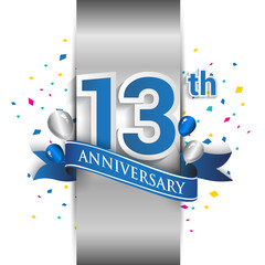 13th anniversary logo with silver label and blue ribbon, balloons, confetti. 13 Years birthday Celebration Design for party, and invitation card