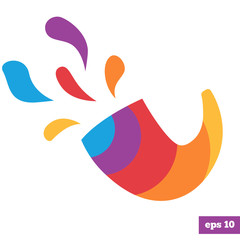 Rainbow bright logo of shofar