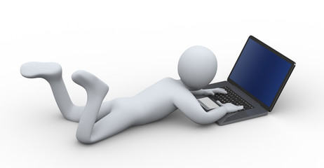 3d person working on laptop