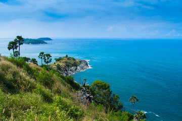 view of seascapes prothep cape viewpoint at phuket, thailand