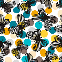 Seamless pattern with exotic butterflies. Vintage background.