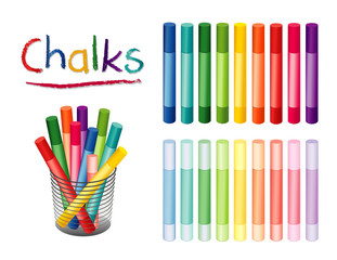 Chalk crayons in 18 rainbow colors, including pastels for  for home, office, back to school, art and craft projects, scrapbooks in desk organizer. EPS8 compatible..