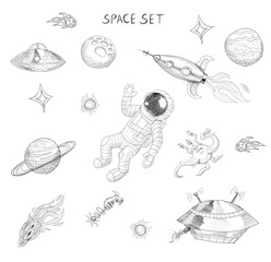 Drawing of space objects: astronaut, alien, ufo, spaceship, comet, planets and stars.