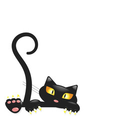 Cute little black kitty, cartoon character for apparel or other uses in vector. T-shirt and pyjamas print or Book illustrations for children