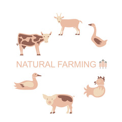Farm animals icon set. Farming logo and label collection in modern flat design, products banner or flyer. Vector eps10 illustration
